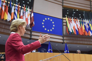 Ursula von der Leyen at the podium. © European Union, 2020