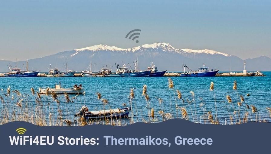 Thermaikos landscape, wifi4eu logo