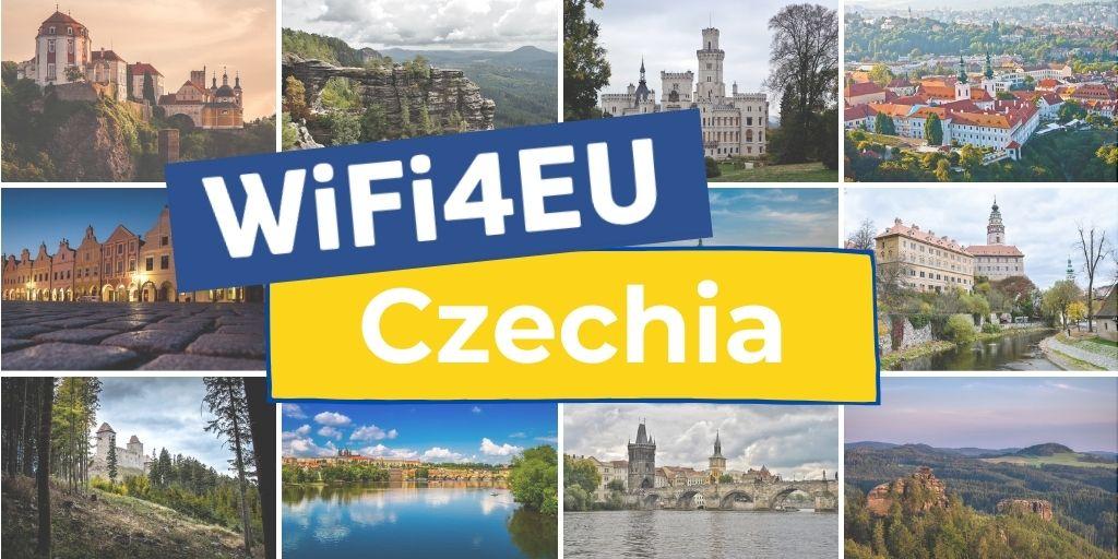 Mosaic of landscapes of Czechia, WiFi4EU logo