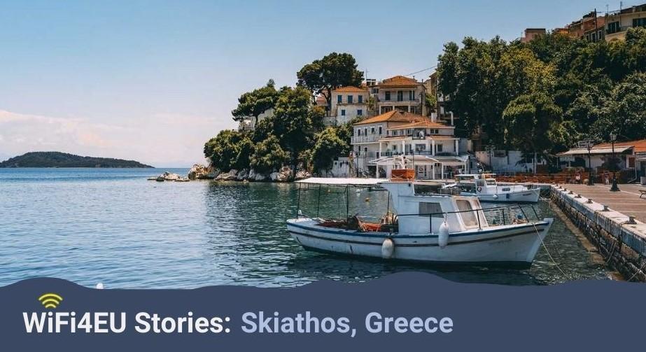 Landscape of Skiathos, WiFi4EU logo