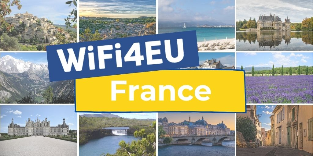 Different landscapes of France, WiFi4EU logo