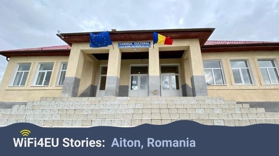 Cultural center in Aiton, Romania, WiFi4EU logo