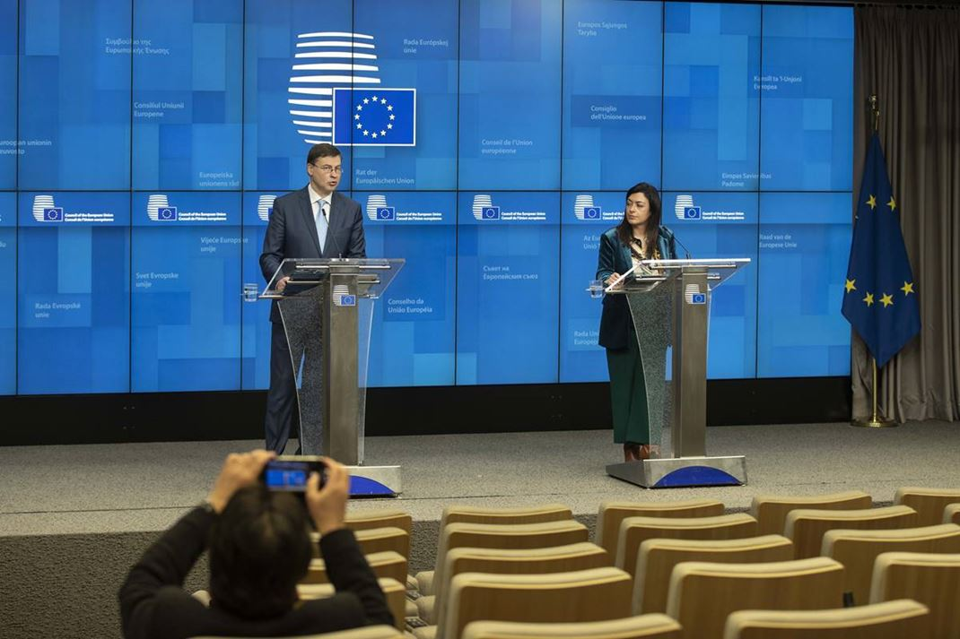 Valdis Dombrovskis, Executive Vice-President of the European Commission, in charge of An Economy that Works for People, at the press conference of the informal video conference of economic and finance ministers