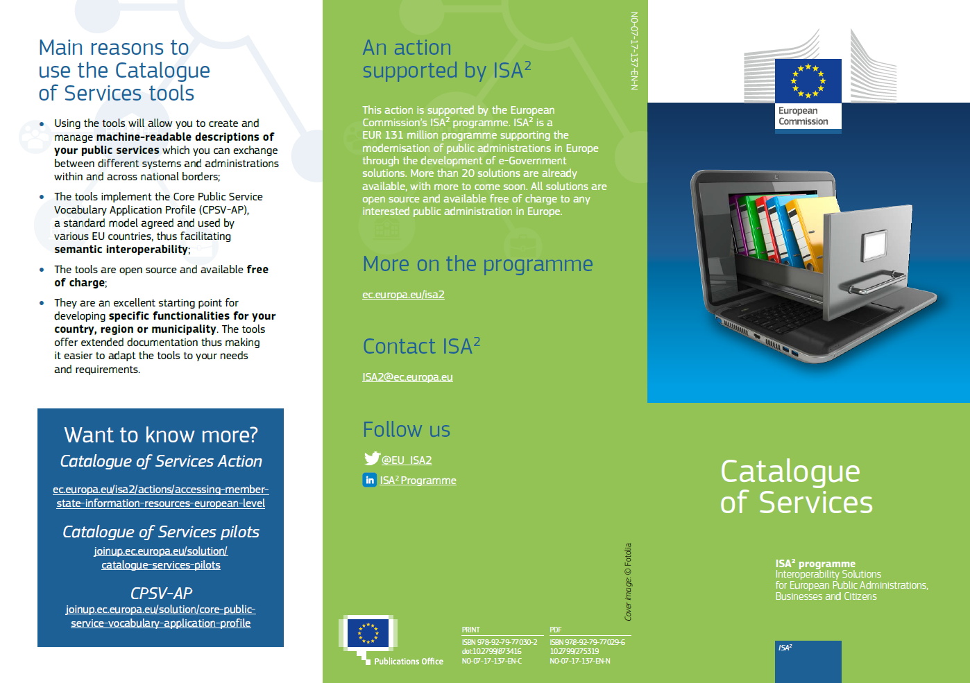 Catalogue of Services leaflet