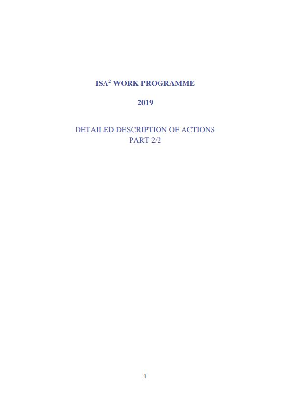 ISA2 WORK PROGRAMME 2019 DETAILED DESCRIPTION OF ACTIONS