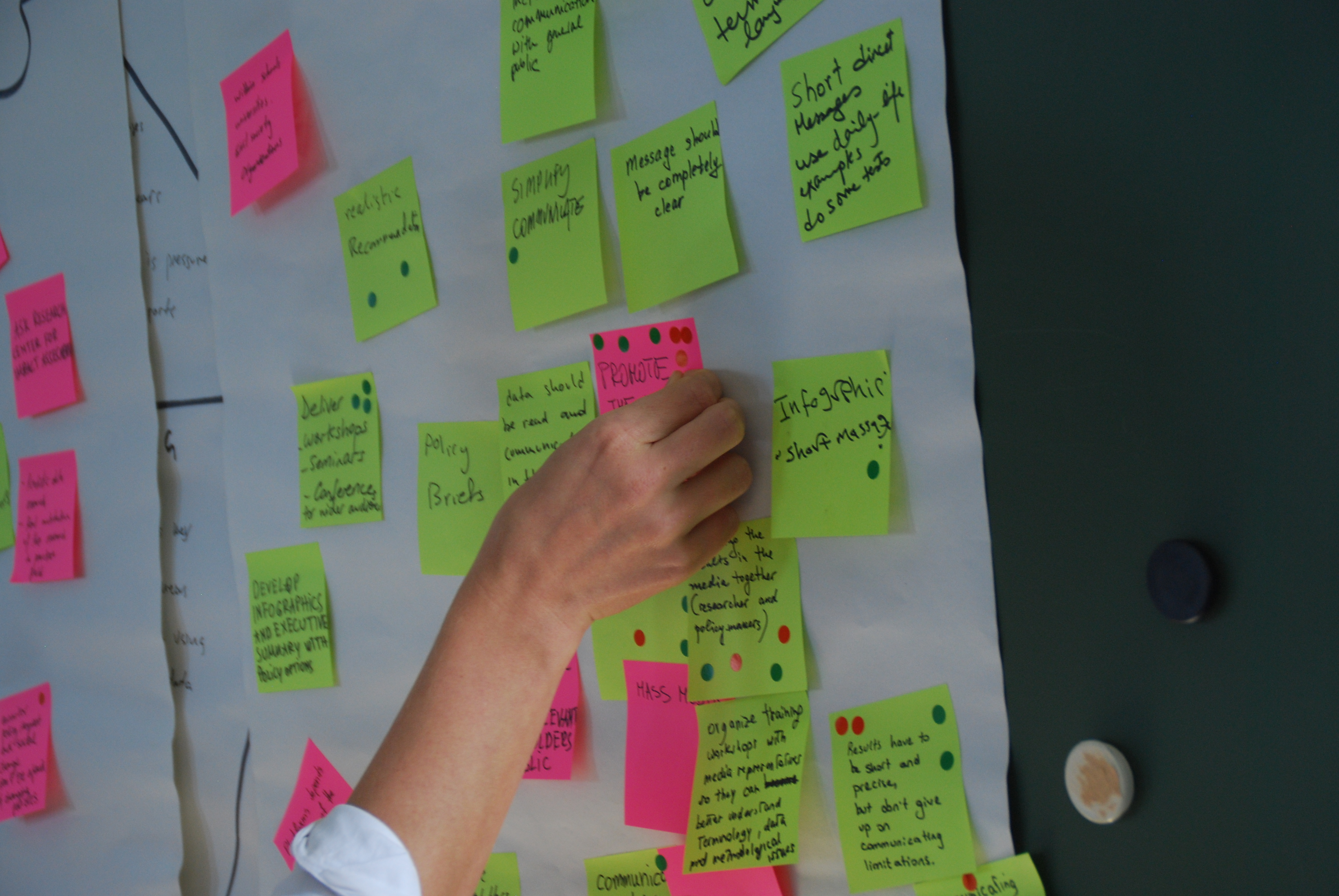 a person adding a sticky dot to a flip chart with post it notes