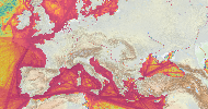 Marine traffic density map 2015