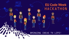 The graphic of the event with cartoon teens wearing each one a letter to spell the word Hackathon