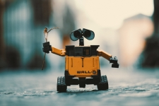 Wall-E, the little robot from the movie, in the street holding a plant branch