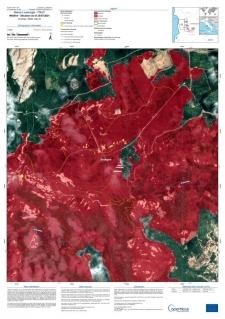 esempio di prodotto del Sistema di mappatura rapida di CEMS per l'incendio a Santu Lussurgiu, luglio 2021, consegnato alle autorità italiane
