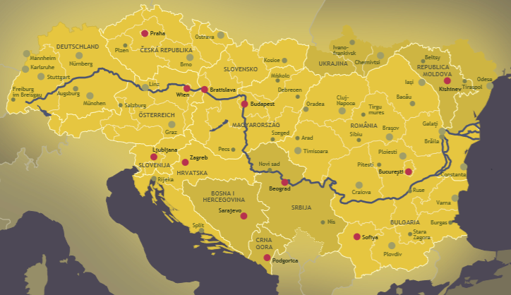 Map of the Danube region
