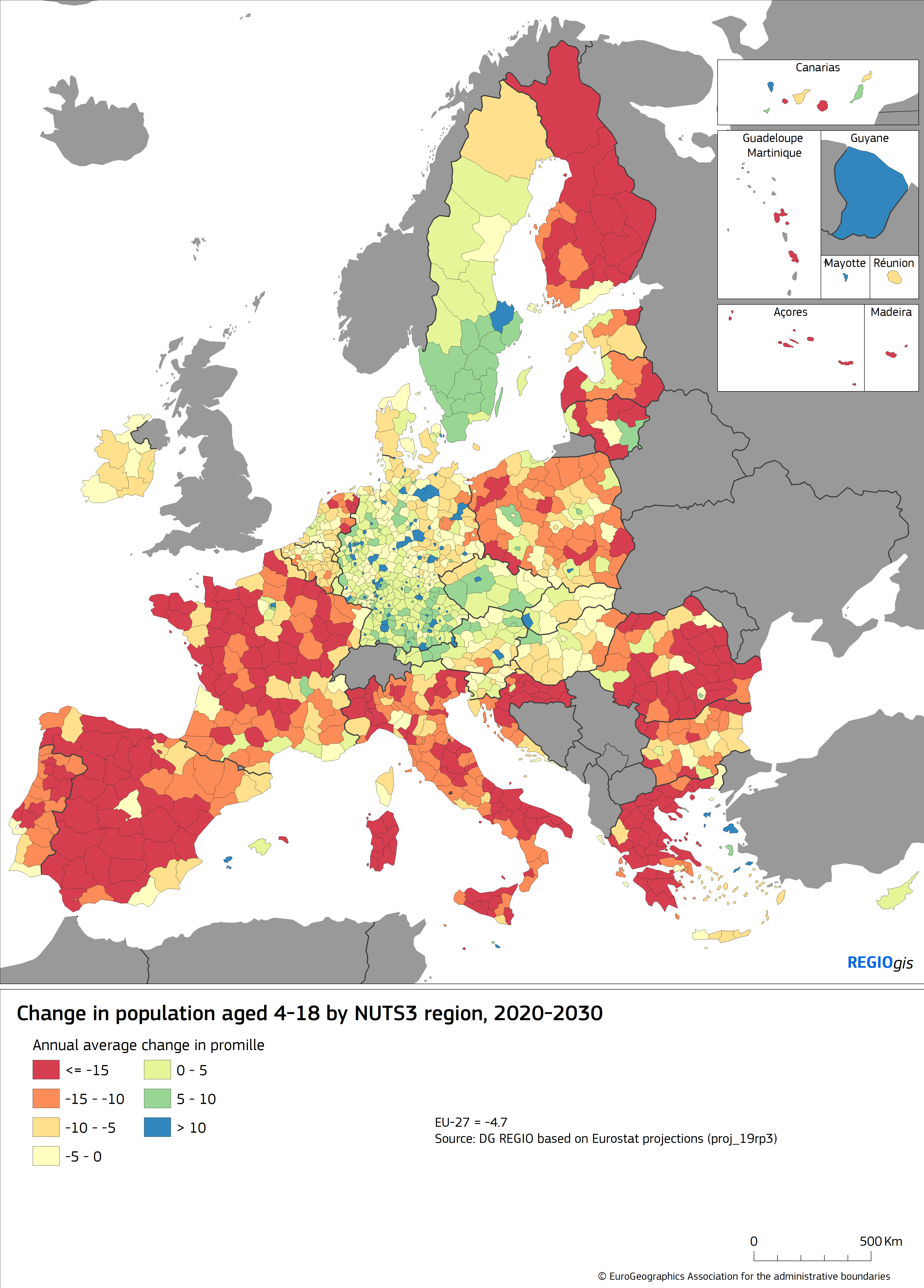 Map 1 Change in population aged 4-18 by NUTS3 region, 2020-2030