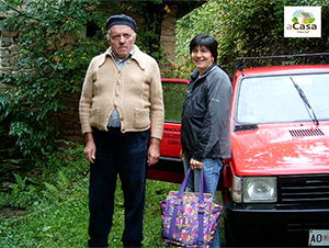 In-home assistant Silvana G. brings weekly groceries to Mr. Pasqualin, who lives in an isolated area of the Varaita Valley in Italy. ©In-home assistant Silvana G. brings weekly groceries to Mr. Pasqualin, who lives in an isolated area of the Varaita Valley in Italy.