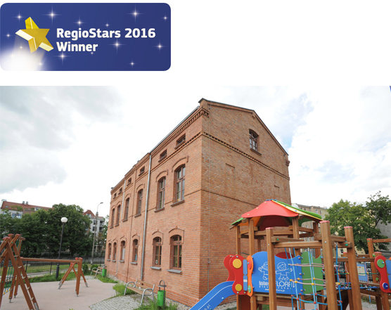 A reconstructed historical building has been transformed to a day nursery, part of the revitalisation of the Lower Town District in Gdańsk project. RegioStars 2016 ©Associated Press
