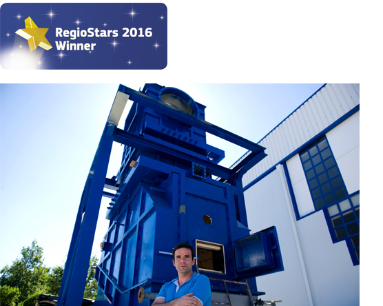 President and research coordinator Joao Nunes in front of a full-scale model of a biorefinery unit for production of petroleum substitutes, converting wastes from forestry and farming at the BLC3's R&TD Centre in Lagares da Beira, Oliveira do Hospital, Portugal. RegioStars 2016 ©Associated Press