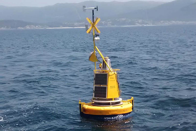 The MarRisk project is using buoys like this to collect data that is used to inform responses to climate change in coastal communities. ©MarRisk