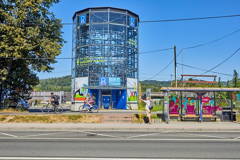 The bicycle parking tower in Třinec. ©Ministry of Regional Development/Antonín Kapraň