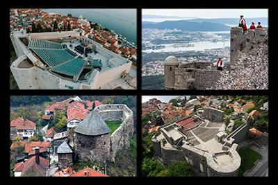 A montage of the St Michael's, Klis, Vranduk and Kanli Kula fortresses ©Public