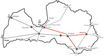 Map of Latvia with the railway lines to be electrified marked in red ©European Union