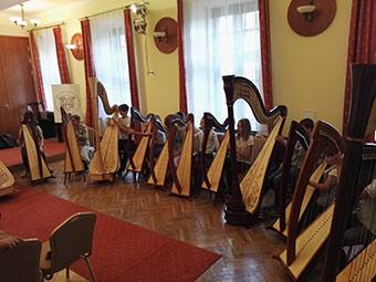 Pupils of the Bronisław Rutkowski Primary and Secondary Music School practising on harps. ©Jerzy Kulawik, Kazimiera Bochenek, 2017-2018