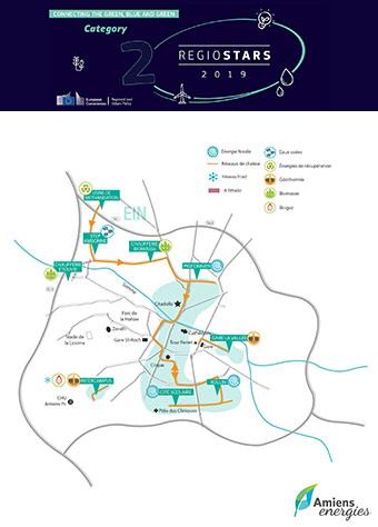 Map of Amiens, showing the city's renewable energy heating network. ©Le réseau de chaleur Amiens Energies