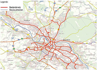Map of Dresden showing the existing tramlines in red and lines under construction in dotted blue, in 2016 ©European Commission