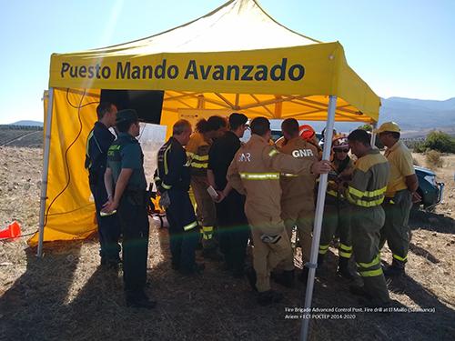 An advanced control post set up during a fire drill at El Maillo, in Salamanca. ©Consejería de Fomento y Medio Ambiente C/Belinda Guerra Burton (2019)