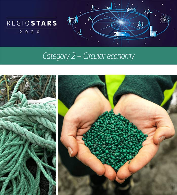 Blue Circular Economy is a transnational project that supports the recycling of discarded fishing gear and marine plastic waste. ©Blue Circular Economy