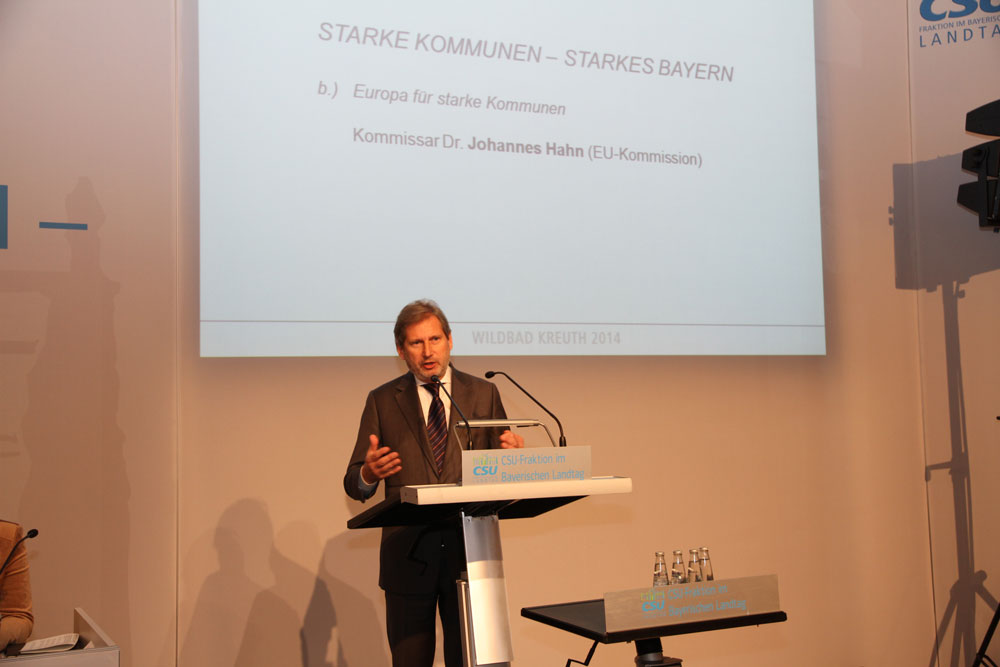 Commissioner Hahn in Wildbad Kreuth: Strong regions for Europe's growth