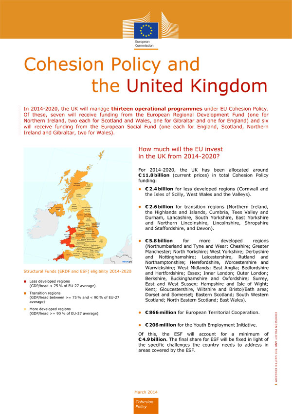 Cohesion Policy 2014-2020: Country specific factsheets for all EU Member States
