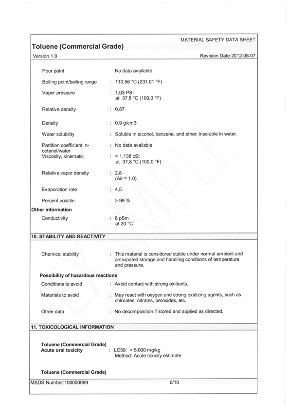 Health And Safety Appendix C Material Data Sheet