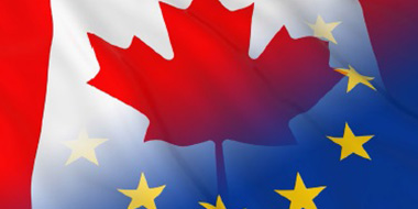 Canadian and European flag