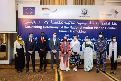 Launching Ceremony of the Sudanese Action Plan to Combat Human Trafficking, in presence of the EU Ambassador Robert Van den Dool and the Sudanese Minister of Justice, Nasredeen Abdulbari