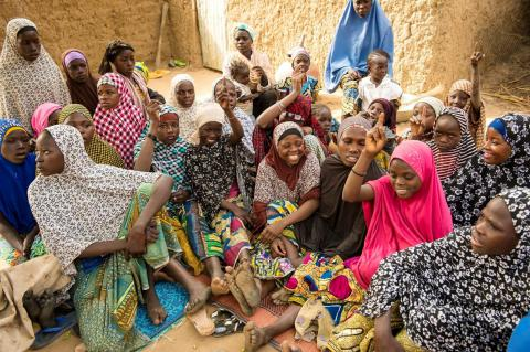 A group of girls taking part in one of Mercy Corps' Safe Spaces programs in the village of Baura, Maradi region