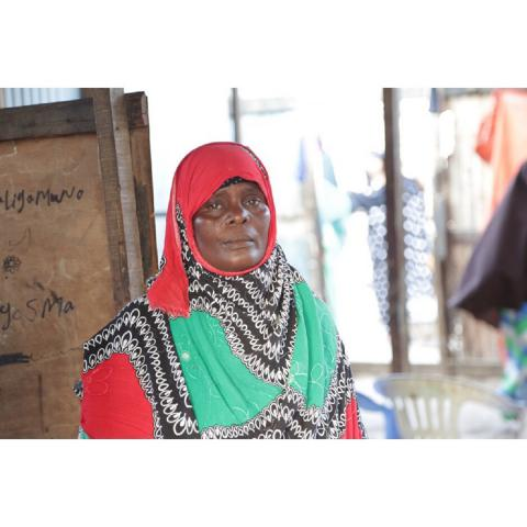 Bullo Rasas, inside her tea shop in an IDP camp in Bossasso which was established through the EU Emergency Trust Fund for Africa, Durable Solutions for IDPs and Returnees in Somalia Project in Puntland.
