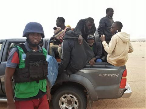 """83 Migrants abandoned by smugglers in the Sahara have been rescued by the EU-IOM Joint Initiative """"Search and Rescue"""" operation"""